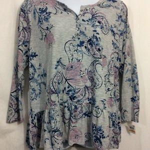 NEW Women Plus Sz 3X Style&Co Gray Blue Floral Top